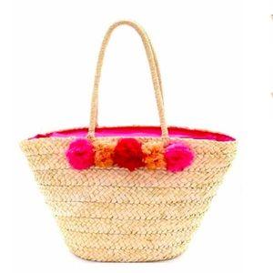 Handbags - Pink Pom Pom Straw Beach Bag